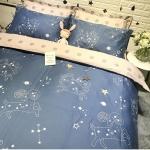 ผ้าปูที่นอนลายหมู่ดาว 12 ราศรี สีน้ำเงิน-พีช