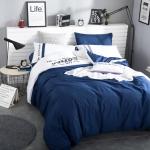 ผ้าปูที่นอน สีพื้นสีน้ำเงิน-ขาว