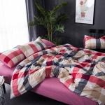 ผ้าปูที่นอน ลายเส้นลายตาราง สีชมพู