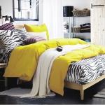 ผ้าปูที่นอน ลายม้าลาย Zebra Bedding สีเหลือง