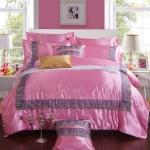 ผ้าปูที่นอน ผ้าซาติน Satin100% สีพื้น-ลูกไม้