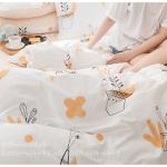 ผ้าปูที่นอน ลายจุด ต้นไม้ สีส้ม-ขาว