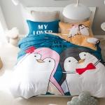 ผ้าปูที่นอน ลายนกแพนกวินคู่รัก