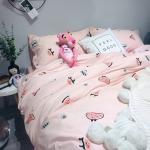 ผ้าปูที่นอน ลายแตงโม สีชมพู