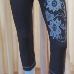 กางเกงเลคกิ้ง 7 ส่วน ผ้าทอ (ลายดอกไม้)