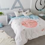ผ้าปูที่นอน wind dream ฟ้า-ขาว สีพาสเทล