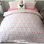 ผ้าปูที่นอน ลายกระต่าย สีชมพู