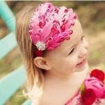 ผ้าคาดผมเด็กขนนกสีชมพู Princress