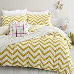 ผ้าปูที่นอน ลายหยักสีเหลือง สีพื้นสีครีม