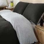 ผ้าปูที่นอน สีพื้น สีดำ-เทา เนื้อผ้าถักนิตติ้ง KnittedCotton