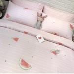 ผ้าปูที่นอนลายแตงโม สีชมพู พิมพ์ลาย