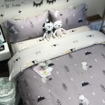 ผ้าปูที่นอน ลายการ์ตูน สีเทาเข้ม-อ่อน