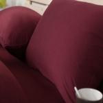 ผ้าปูที่นอน สีพื้น สีแดงเข้ม เนื้อผ้าถักนิตติ้ง KnittedCotton