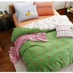 ผ้าปูที่นอน ลายแครอท จุดสีส้ม เขียว