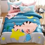 ผ้าปูที่นอน ลายแมวน้อย สีฟ้า-ชมพู