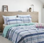 ผ้าปูที่นอน ลายเส้นตาราง โทนสีฟ้า-เขียว