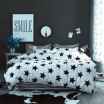 ผ้าปูที่นอน รูปดาว ลายเส้น สีขาว-ดำ