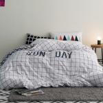 ผ้าปูที่นอน ลายสวยสีขาว-เส้นดำ ตาราง