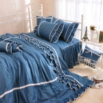 ผ้าปูที่นอนวินเทจ สีน้ำเงิน สไตล์เกาหลี เจ้าหญิง