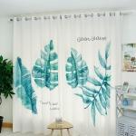 ผ้าม่านลายต้นตะบองเพชร สีเขียว-ขาว