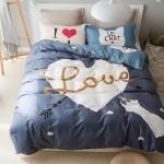 ผ้าปูที่นอน ลายการ์ตูนหัวใจ พิมพ์ Love พื้นสีเทา