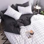 ผ้าปูที่นอนลายตาราง โทนสีดำ-ขาว