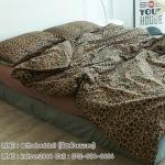 ผ้าปูที่นอน ลายเสือดาว สีน้ำตาลเข้ม