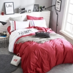 ผ้าปูที่นอน สีพื้นสีแดง-ขาว