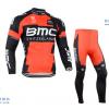 ชุดปั่นจักรยานแขนยาวทีม BMC เสื้อปั่นจักรยานแขนยาว กับ กางเกงปั่นจักรยานขายาว สีแดง 069