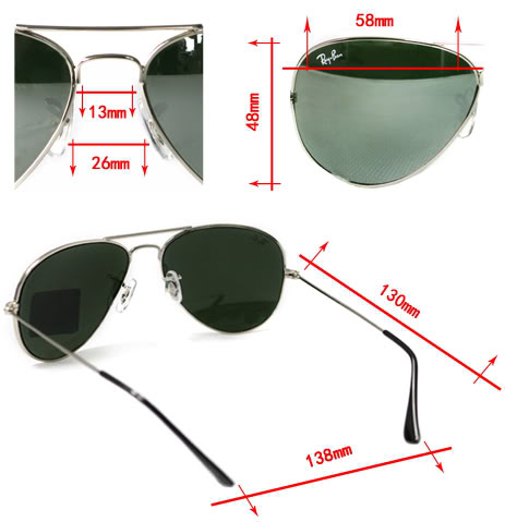 sizes ray ban aviator sunglasses