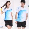 ชุดแบดมินตัน เสื้อแบดมินตัน LI-NING สีขาวฟ้า : 406