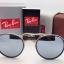 Ray-Ban Round Folding RB 3517 001/30 Blue Silver mirror thumbnail 2