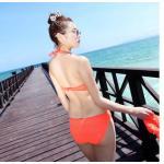 ชุดว่ายน้ำวินเทจ แบบวันพีช ซีทรูกลางตัว กระโปรงถอดได้ สีส้ม size XL