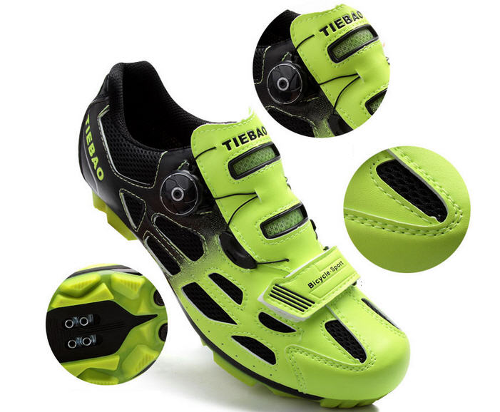 รองเท้าปั่นจักรยานเสือภูเขา TIEBAO สีเขียวสะท้อนแสง : TB15-B1259_1002