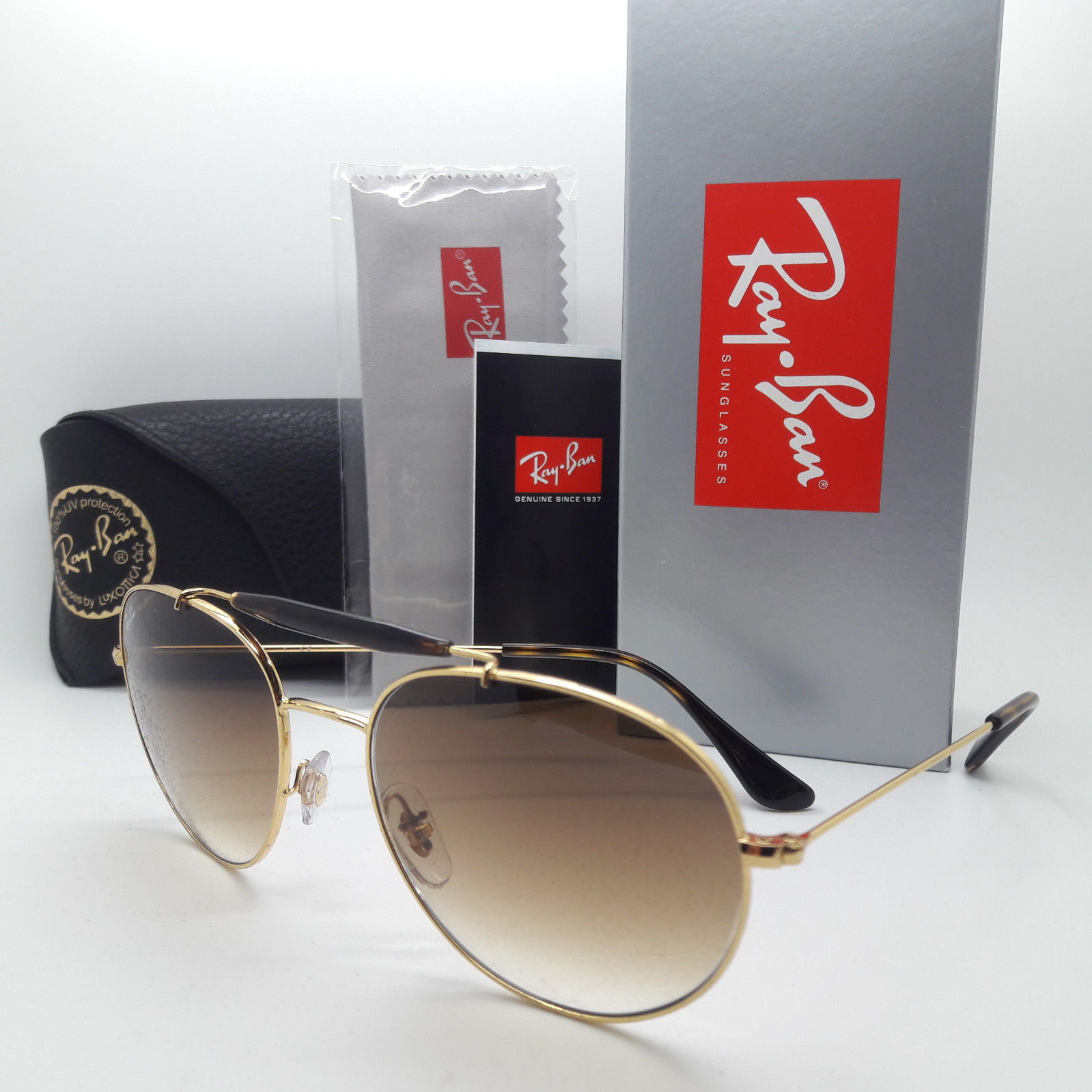 Ray Ban RB3540 001/51 56mm Round Gold frame Brown gradient