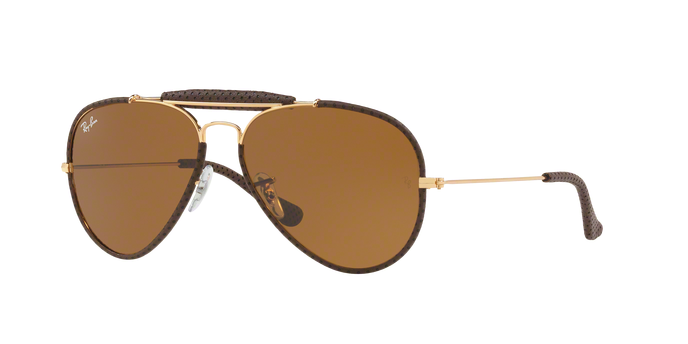 Ray Ban RB3422Q 9041 LEATHER BROWN Brown