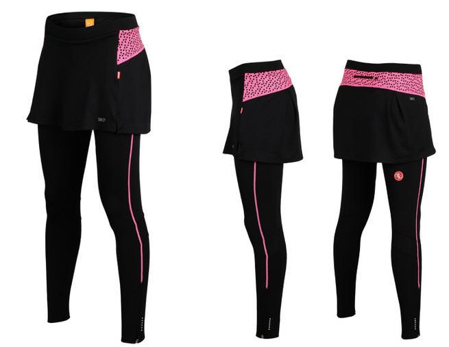 กางเกงกระโปรงปั่นจักรยานขายาวผู้หญิง SOUKE สีชมพู : SKT0202