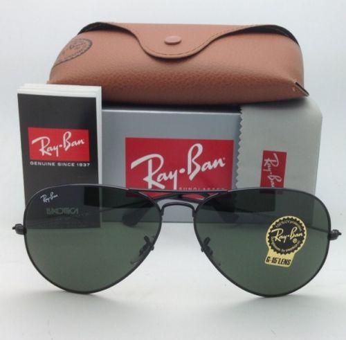 Ray-Ban RB3026 L2821 Aviator Black Frame G-15 Lenses 62mm