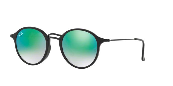 Ray Ban RB2447F 901/4J SHINY BLACK Mirror Gradient Green