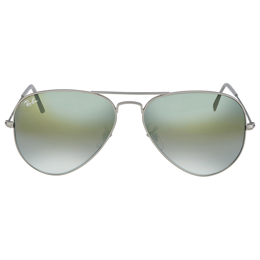 Ray-Ban RB3025 019/9J Aviator Matte Silver / Green Gradient Mirrored