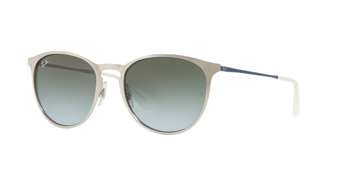 Ray-Ban Erika RB3539 9080I7 BRUSCHED SILVER Light Blue Gradient Green
