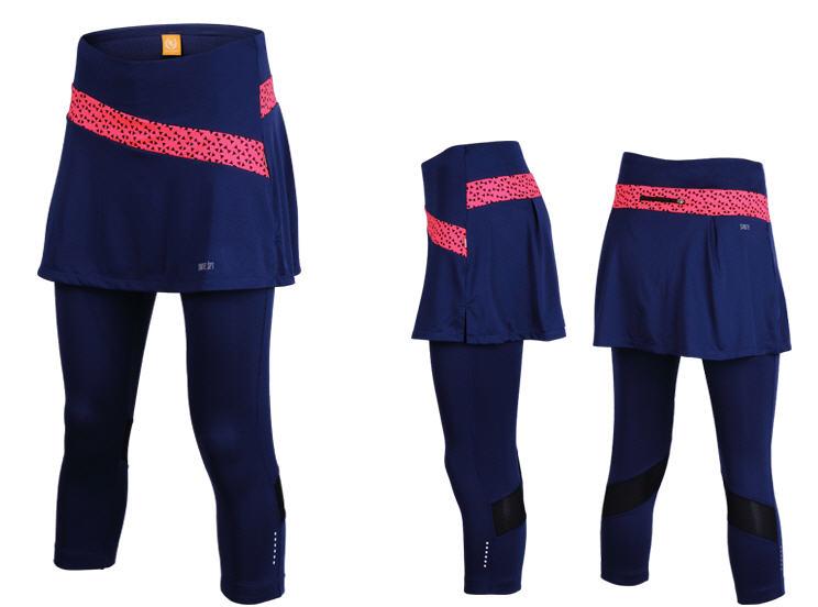 กางเกงกระโปรงปั่นจักรยานขายาวผู้หญิง 3/4 SOUKE สีน้ำเงินเข้ม : SKT0206