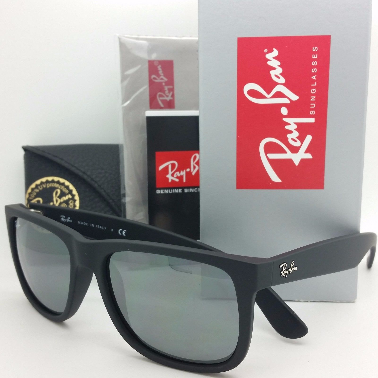 Ray-Ban RB4165 622/6g Justin Black rubber Grey silver mirror