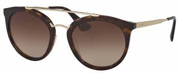 แว่นกันแดด PRADA PR 23SSF 2AU6S1 ROUND GOLD HAVANA