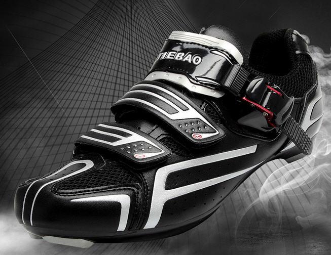 รองเท้าปั่นจักรยานเสือหมอบ TIEBAO สีดำเงิน : TB16-B1268_0204