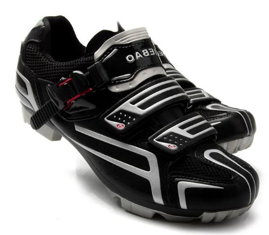 รองเท้าปั่นจักรยานเสือภูเขา TIEBAO สีดำเงิน : TB15-B1268_0204