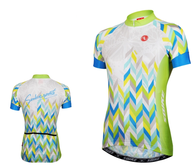 เสื้อปั่นจักรยานแขนสั้นผู้หญิง SOUKE สีเขียว : CL2002