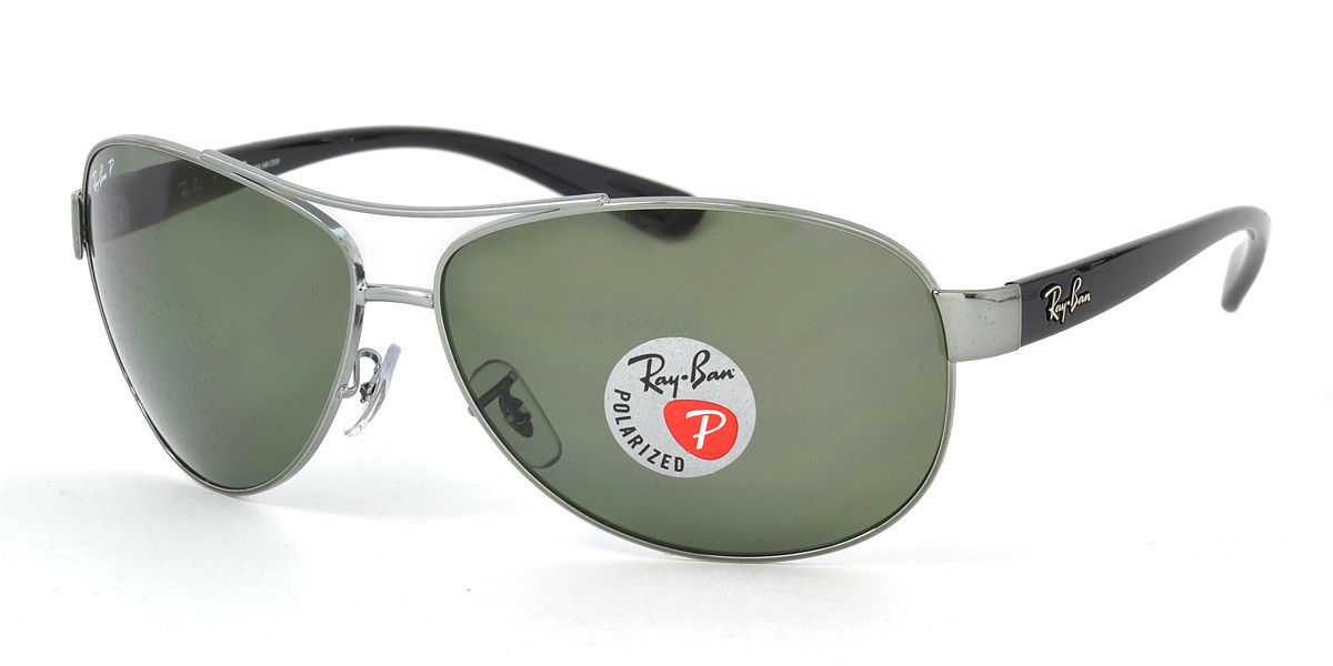Ray Ban RB3386 004/9A gunmetal/Green polarized lens Aviator 63mm