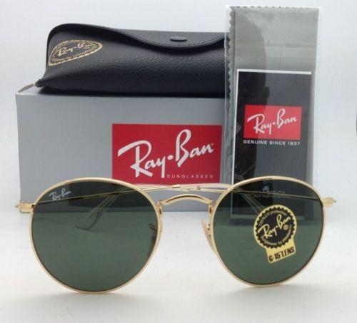 Ray-Ban RB3447 001 Round metal Gold frame G-15 lenses