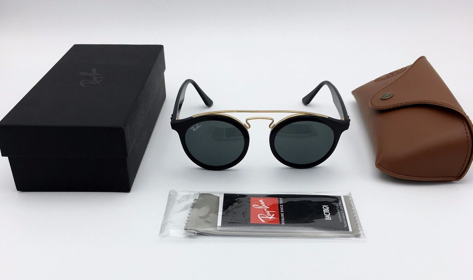 RAY-BAN ROUND RB4256 601/71 BLACK GOLD FRAME/GREEN CLASSIC LENS